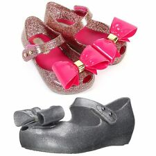Mini Melissa Girls Shoes Ultragirl VIII BubbleGum Bow Tie Mary Jane Flats NEW