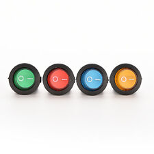 1X/4X ON/OFF LED 12V 16A DOT ROUND ROCKER SPST TOGGLE SWITCH CAR BOAT LIGHT FBC