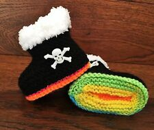 Baby Goth Emo Punk Hand Knitted Crochet Booties Boots Skulls 0-12M Black Rainbow