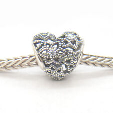Authentic Genuine S925 Sterling Silver Blooming Heart Clear CZ Bead Charm