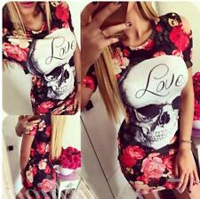 Women's Skull Rose Flower Pattern Cold Shoulder Package Hips Bodycon Mini Dress