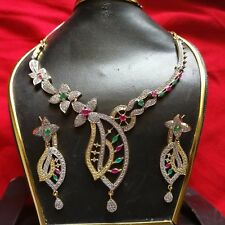 Indian Ethnic Bridal Wedding Party wear CZ AD Stone Necklace Earring Jewelry Set