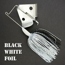 Buzzbait Rapper BLACK WHITE FOIL bass fishing buzz baits. FREE KVD trailer hook.