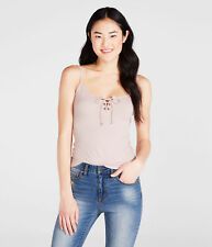 aeropostale womens solid lace-up tank