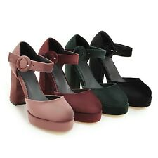 AU All Size Faux Suede Thick High Heel Mary Jane Pumps Strap Women's Shoes New