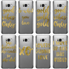 DYEFOR REAL GOLD FOIL SAYINGS CLEAR PHONE CASE COVER FOR SAMSUNG GALAXY PHONES 2