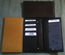 Mens Women SOFT GENUINE LEATHER Tan Brown Black Checkbook Cover Wallet IMPERFECT