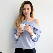 Women's Striped Print Skew Collar One Shoulder Strappy Long Sleeve Shirt Top