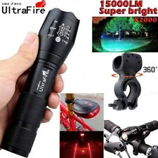 Zoom Flashlight 18650 20000LM T6 LED Bicycle Bike Lamp Laser Mount Hunting Torch