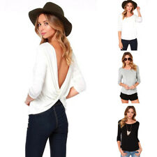 Women Autumn Long Sleeve Round Collar Sexy Backless Cross Fold T-shirt Tops HOT