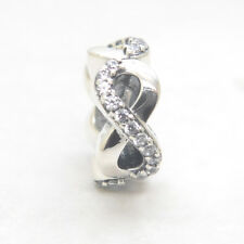 Authentic Genuine S925 Sterling Silver Infinite Love Clear CZ Spacer Bead Charm