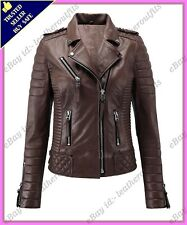 Womens Genuine Lambskin Motorcycle Real Leather Jacket Slim fit Biker Jacket #76
