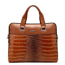 100% Cowhide Leather Briefcase 14 inches Laptop Business Crossbody Bag Unisex