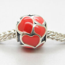 Genuine Authentic S925 Sterling Silver Red Hot Hearts Enamel Charm Bead