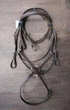 English Bridle BROWN COB Or PONY FIGURE 8 Mexican Facny Stitch Brow +Nose Band