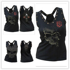 Women's Skull Print Rivet Splicing Sleeveless Back Hollow Out Tank Top Cami Tee