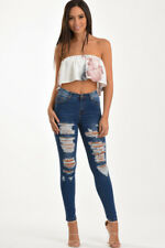 LOUISA DARK BLUE RIPPED DISTRESSED HIGH WAISTED WASHED DENIM SKINNY JEANS