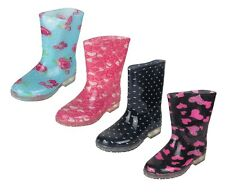 Children's Rain Boot Waterproof Rubber Shoes Printed Roses Heart Sizes 5-10 New