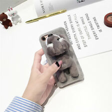 Lovely 3D Fluffy Plush Lying Dog Soft TPU Phone Case Cover for iPhone 8/7