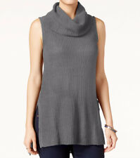 Sleeveless Cowl-Neck Tunic Sweater ULTRA FLIRT Juniors Knitted Gray Long Top