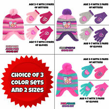 Nickelodeon Little Girls Paw Patrol Hat & 2 Pair Mittens/Gloves Cold Weather Set