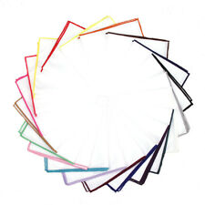 100% COTTON WHITE POCKET SQUARE HANDKERCHIEF HANKY WITH COLOUR TRIM WEDDING UK