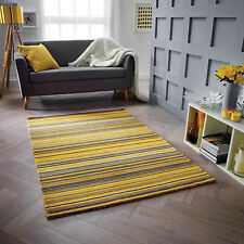 Mustard Yellow 100% Wool STRIPED Pattern HIGH QUALITY Modern Rug  Runner 25% OFF