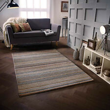 Natural Beige  100% Wool STRIPED Pattern HIGH QUALITY Modern Rug  Runner 25% OFF