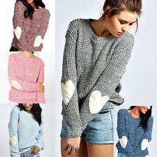 Women's Winter Cute Heart Pattern Elbow Patchwork Thin Knit Sweater Pullover