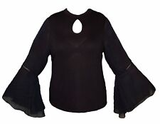 V by VERY Chiffon Long Sleeve Ladies Jersey Black Top Cut Neck Stretch Fit BNWT