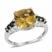 Golden Apatite, Green Tourmaline Platinum Over Sterling Silver Ring  T