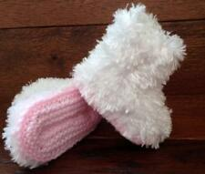 Baby Hand Knitted Crochet Booties Boots Faux Fur Girls 0-12M Pink White Slipper