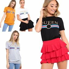 Ladies Womens Stripes Vintage QUEEN Slogan Retro Novelty Tops Cotton Tee T-Shirt