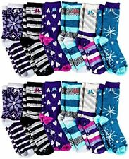 12 Pairs Womens Fuzzy Socks Non Skid Slipper Gripper sock Sole multi - One Size