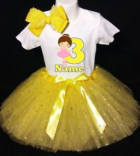 Ballerina --With NAME-- 3rd Birthday Dress shirt 2pc Yellow Tutu outfit Dance