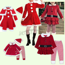 Kids Girl Fancy Christmas Outfit Mrs Santa Dress Striped Leggings Pants Set Xmas