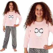Girls Owl Warm Fleece Pyjama Set Nightwear Childrens Kids Pajamas 11-12 Years