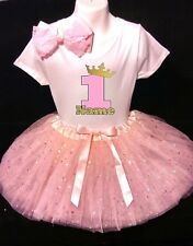 Princess Crown --With NAME--1st first Birthday Dress shirt 2pc Pink Tutu outfit