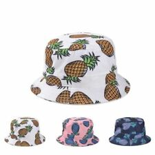 Free Shipping 2017 New Fashion Lovely Summer White Pineapple Printed Bucket Hats