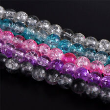 Glass Spacer Beads Colorful Crystal Crackle DIY Craft Jewelry Making Accessories