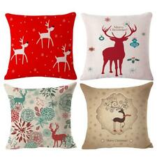 4x Linen Xmas Santa Claus Couch Throw Pillow Case Sham Sofa Cushion Cover 17inch