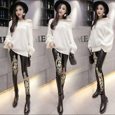 Womens High Waist Slim Stretch Faux Leather Skinny Tight Pants Shiny Leggings OR