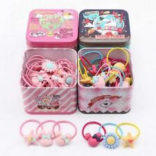 40 Pcs/set Iron box Elastic Rubber hair bands Girls Kitty floral ponytail holder