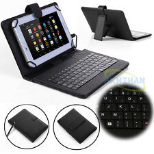 """PU Leather Micro USB Keyboard Stand Cover Case for 7"""" 8"""" 10.1"""" Android Tablets"""