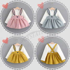 Cute Cartoon Rabbit Ear Skirt Infant Baby Girl Long Sleeves Dress Set New Outfit