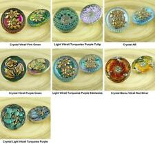 1pc Large Crystal Gold Flower Handmade Czech Glass Buttons Size 12, 27mm