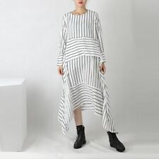 Women  Maxi Stripe Shirt Dress White Black O-neck  Dress