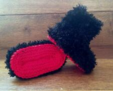Baby Goth Emo Punk Hand Knitted Crochet Booties Boots Furry Devil 0-12M Black