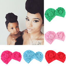 Colorful Womens Baby Girl Mom Kids Flower Knot Turban Beanie Hat Indian Cap