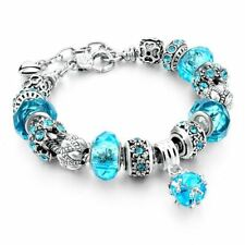 New Crystal Beads Bracelets Bangles Silver Plated Charm  Bracelets For Women Pul